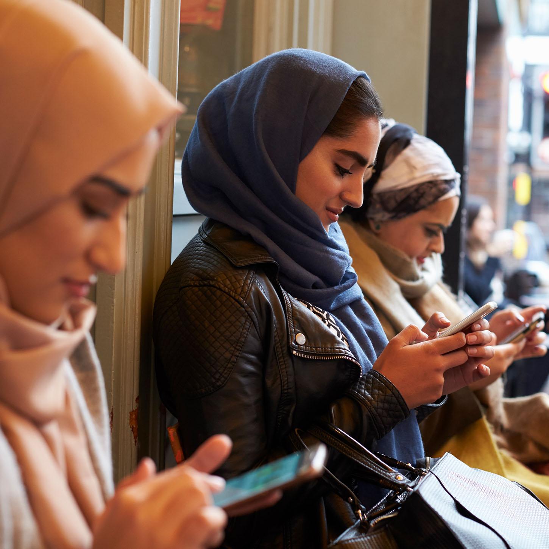 Girls using phones