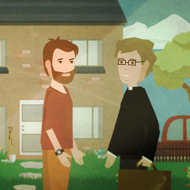 Meeting priest illustration